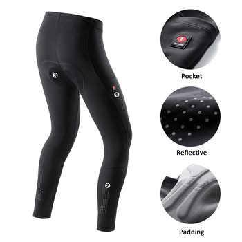 Santic Men Cycling Pants Summer Bicycle Long Pants Cushion MTB Ride Bike Trousers Outdoor Sports Reflective Asian size K9MD092H