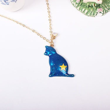 1PC Fashion Jewelry Enamel Cat Pandent Necklaces For Women Gold Color Star Sweater Necklace Bohemian Chain N921 6