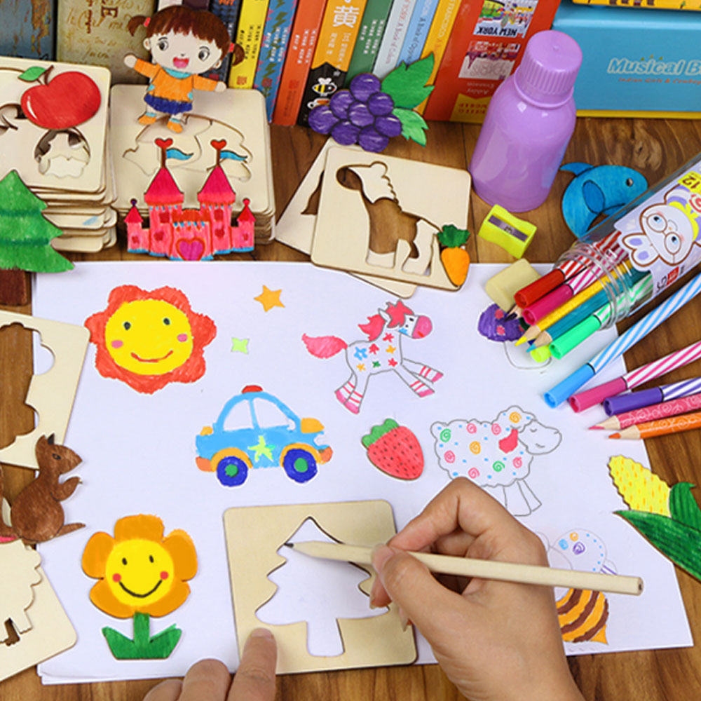 100 Pcs/Lot Baby Toys Creative Coloring Drawing Board Paint Toy Set Kids Toys Craft Children Creation Wooden Drawing Toy