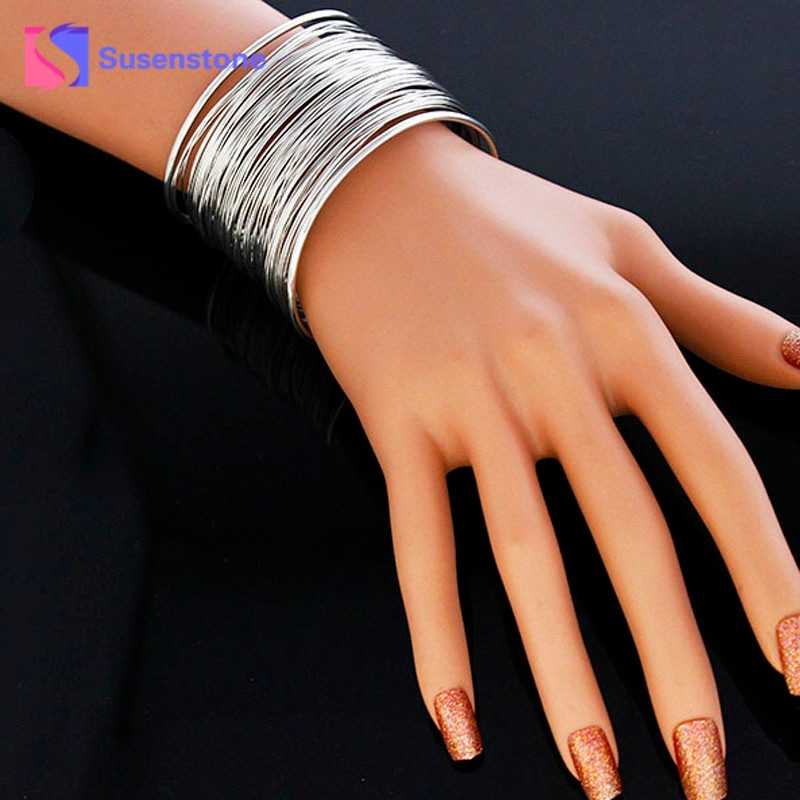 susenstone Drop shipping  Unique Exaggerated Gypsy Plated bracelet bangles jewelry for lady women dress luxury brand#0412