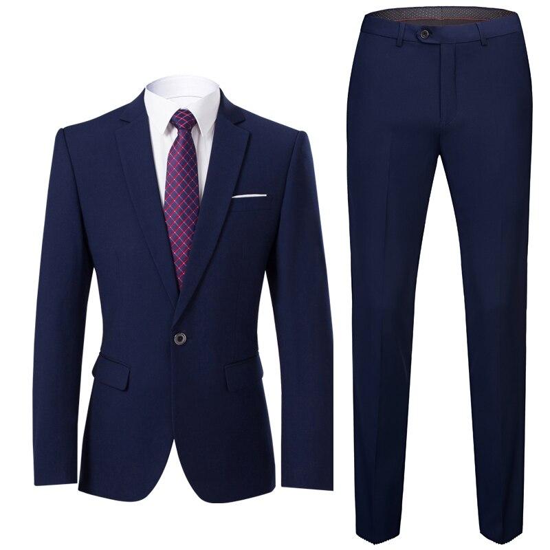 Gauche ROM 2019 hommes décontracté travail vêtements hommes costumes mariage marié 2 pièces (veste + pantalon) Slim Fit costumes homme grand sizeS-6XL