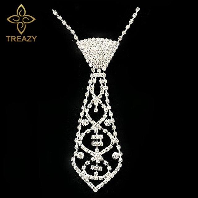 dfd8ed97e520 Treazy clásico cristal rhinestone Masajeadores de cuello lazo Collares plata  color Masajeadores de cuello encaje cadena