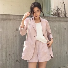 Shorts suit female spring and summer cotton linen professional small jacket striped shorts two-piece