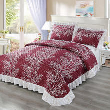 Luxury Plant Pattern Quilted Bedspread 100% Cotton Coverlet Set Skin Friendly Summer Bedspreads Comforter Fabric