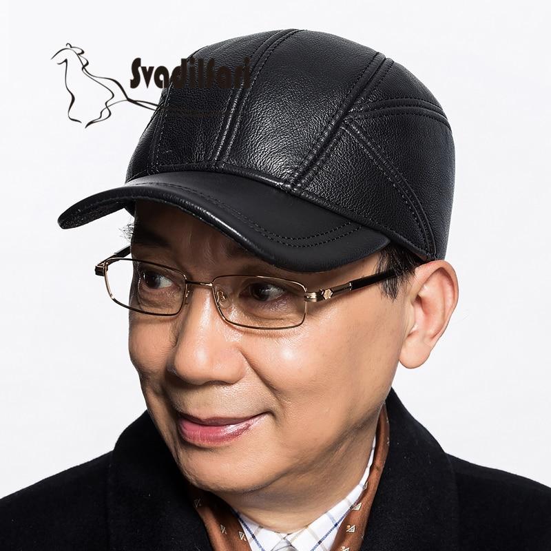 Кожа шляпа человек старый бейсбольная кепка уха осенью и зимой теплый зимний досуг кожаные фуражка
