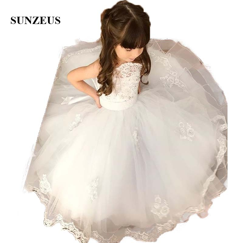 Strapless Ball Gown   Flower     Girls     Dresses   Ivory Lace Appliques Beaded Stunning   Girls   First Communion   Dresses   Princess SF24