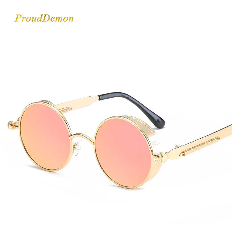 6aaf0b447cdb Men Steampunk Metal Polarized Round Sunglasses Women Mirrored Circle Sun  glasses Brand Designer Retro Vintage Oculos
