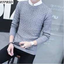 Solid Color Round Neck 2017 Knitted Sweater Men Masculino Men Wool Pull Sueter Hombre Warm Knit Male Casual Pullover Sweater
