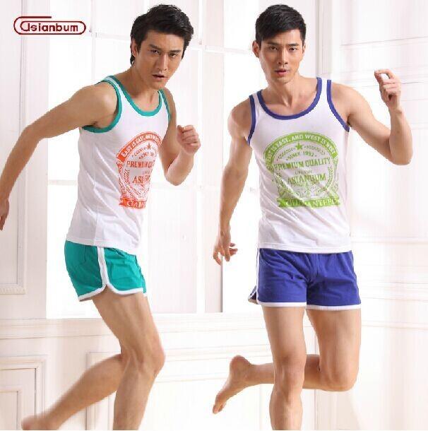 NUEVO algodón Del Equipamiento Casero de Los Hombres Asianbum traje Asianbum marca authentic home shorts pijama desgaste conjunto
