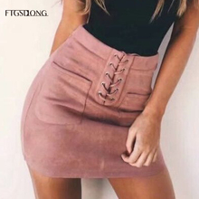 FTGSDLONG 2019 New Faux Suede Skirt Pockets Summer Lace Up Skirt High Waist Sexy Mini Casual Women A Line Skirts Solid yellow suede studded mini skirt