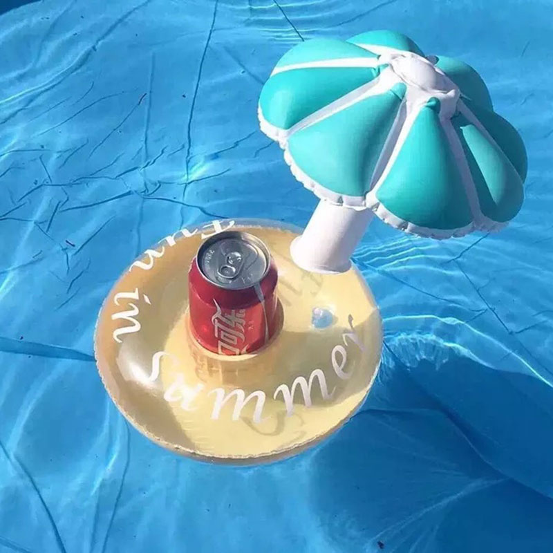 2016 Summer Bath Toys Cute Drink Can Holder PVC Inflatable Floating Toy Swimming Pool Bathroom Beach Water Toys Free Shipping