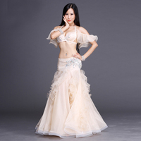 Professional Belly Dancing Costumes Set Performance Diamond 2PCS Bra Skirt New Arrival 2017