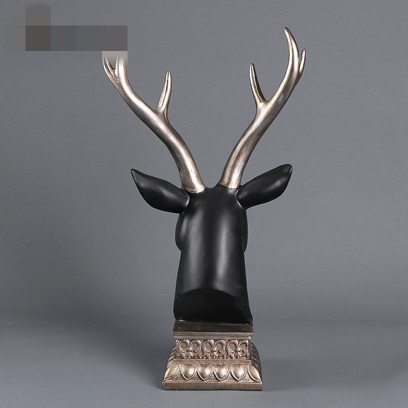 Elaphurus Davidianus Head Statue Colophony Crafts Deer Collectible American Country Home Decorations Resin Artwork L1604