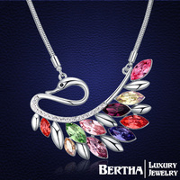 New Arrival Peacock Long Necklace Sweater Chain Genuine Crystals from Swarovski Women Choker Jewelry Collares Mujer