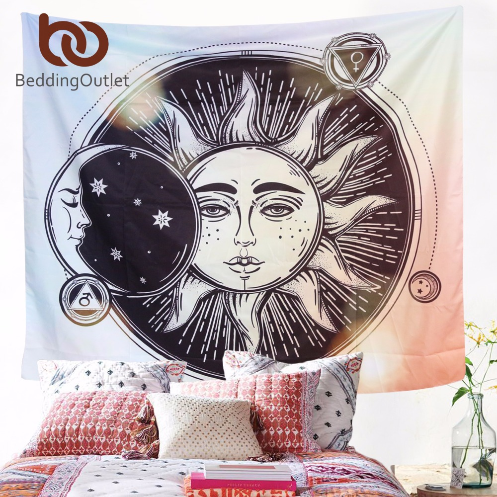 BeddingOutlet Sun Moon Tapisserie Hippie Wandbehang Indische Böhmischen Celestial Gedruckt Fenster Tür Vorhang 130x150 cm 150x200 cm