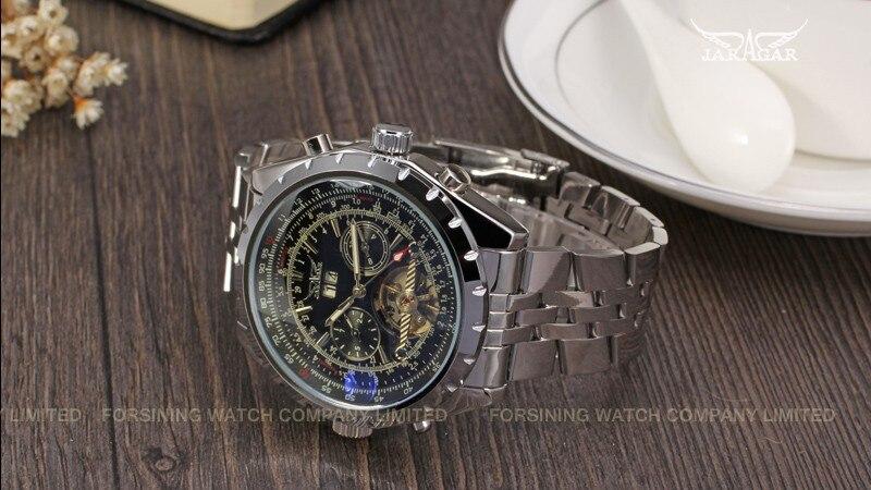 Reloj Hombre JARAGAR montre de mode hommes jour volant automobile mécanique en acier montre-bracelet boîte cadeau de noël cadeau livraison gratuite - 4