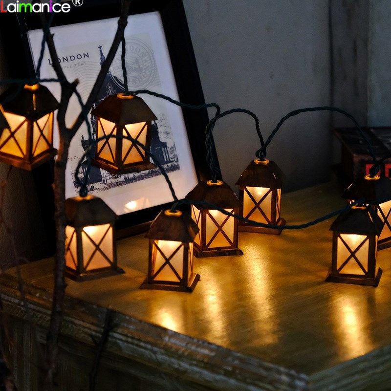 220V EU Plug 3M 20LED Romantic Wire Light String Lights Vintage Metal House Lanterns Lamp Lights for Christmas Festival Decor 2018 3m 220v 20pcs car models night lamp kid children room decor paper string lighting holiday lights eu uk plug luminaria