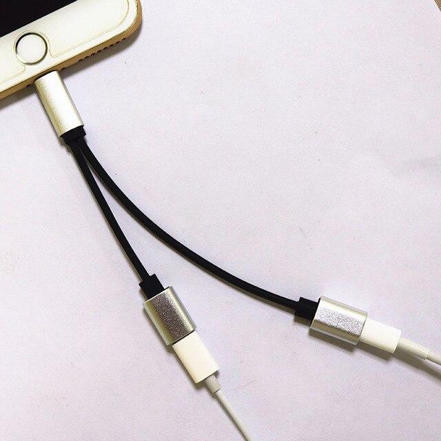 25af92909a1 2 en 1 Adaptador Doble conector divisor auriculares Audio + Cable de carga  micrófono llamadas para