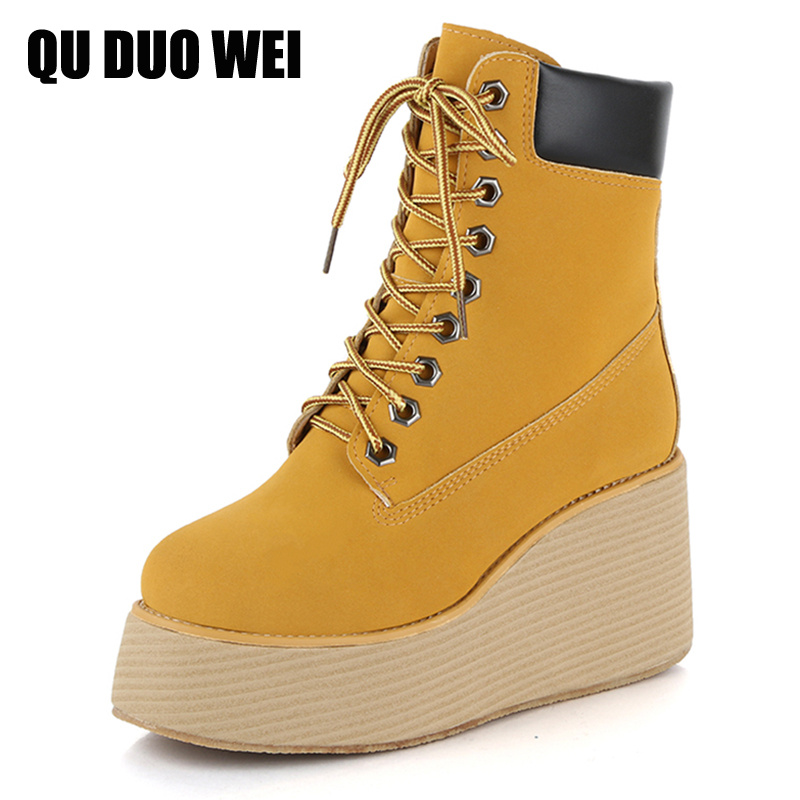 ФОТО 2017 Boots Thick Bottom Platform Wedges Shoes For Women Short Boots High-Top Winter Short Plush Motorcycle Boots Yellow Creepers