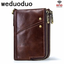 Weduoduo 100% Genuine Leather Men Wallets Vintage Trifold Wallet Zip Coin Pocket Purse Cowhide For Mens