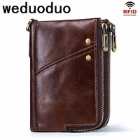 Weduoduo 100% Genuine Leather Men Wallets Vintage Trifold Wallet Zip Coin Pocket Purse Cowhide Leather Wallet For Mens
