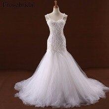 White Spaghetti Straps Wedding Dress with Appliques Mermaid Lace up Court Train Illusion Back Bridal Gown vestito sposa YY111