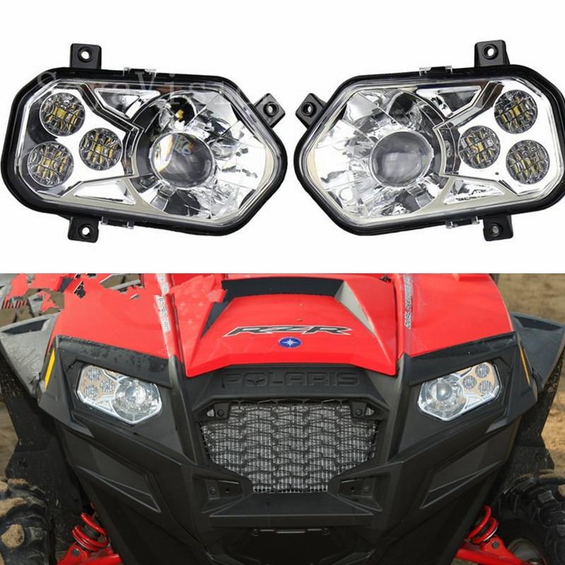 Chrome High//Low Beam LED Headlight Lamp For POLARIS RZR 800 RZR 900 XP 2011-2014
