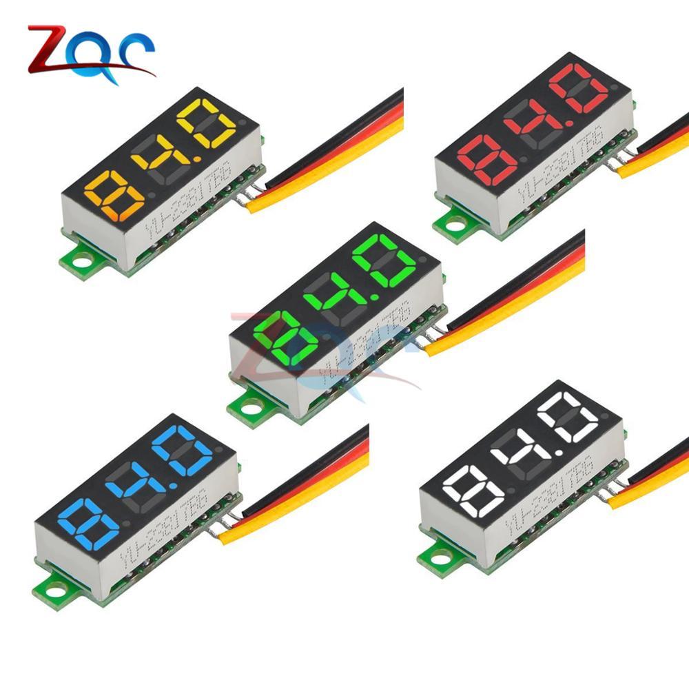 """5Pcs 0.28/"""" DC 0-100V Digital Tube Voltmeter 3Bit Red LED Panel 3 Wire Volt Meter"""