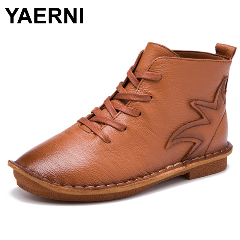 YAERNI Fashion Round Toe Women Shoes 2017 Autumn Soft Genuine Leather Ankle Boots Lace Up Casual Female Flat Short Boots wide calf designer slip on trend short harajuku shoes japanese flat women boots winter 2017 ankle autumn black lace up female