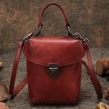 2017 Vintage Women's Handbags Small Bag Genuine Leather Handmade Shoulder Bag Rivet Cow Leather Women Messenger Crossbody Bags