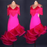 New Elegant Rose Red Women Latin Dance One Piece Dress Upscale Tassel Puff Skirt Professional Salsa