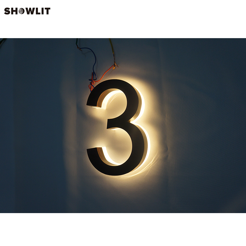 Custom Made Brass Modern Halo Lit House Numbers