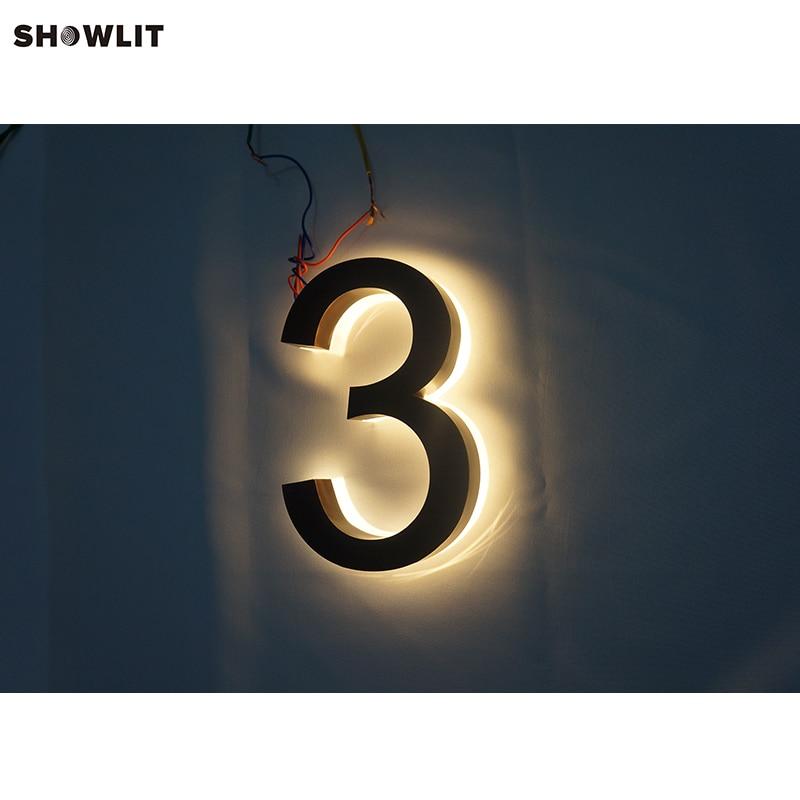 Custom Made Brass Modern Halo Lit House Numbers 3d backlit letter sign halo lit logo signs custom made