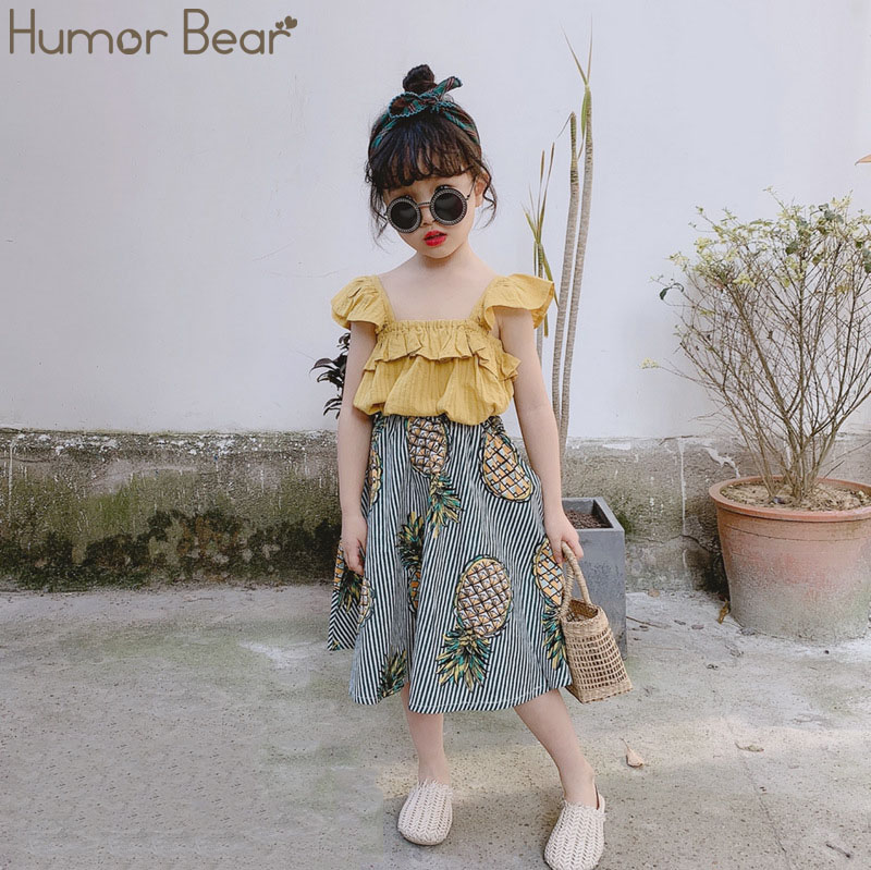 Humor Bear Girls Clothing Set 2020 Korean Summer New Ice Cream Bow Top T-shirt+Pants Kids Suit Toddler Baby Children's Clothes 7