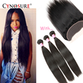 Malaysian Straight Hair 3 Bundles With Lace Frontal Closure Malaysian Virgin Hair With Closure Human Hair Lace Frontal Closure