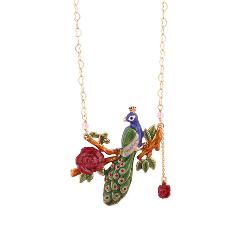 Juteux raisin nouveau mode bijoux doré paon bijoux femme émail glaçure fleur en forme de coeur pendentif collier clavicule chaîne