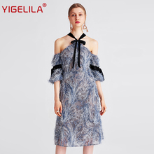 YIGELILA 2017 Latest Summer Women Fashion Off Shoulder Lantern Sleeve Knee-Length Sexy Halter Feathers Dress 62703