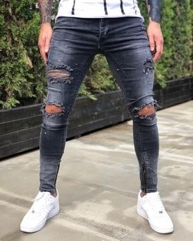 Ripped Men's jeans elastic denim trousers