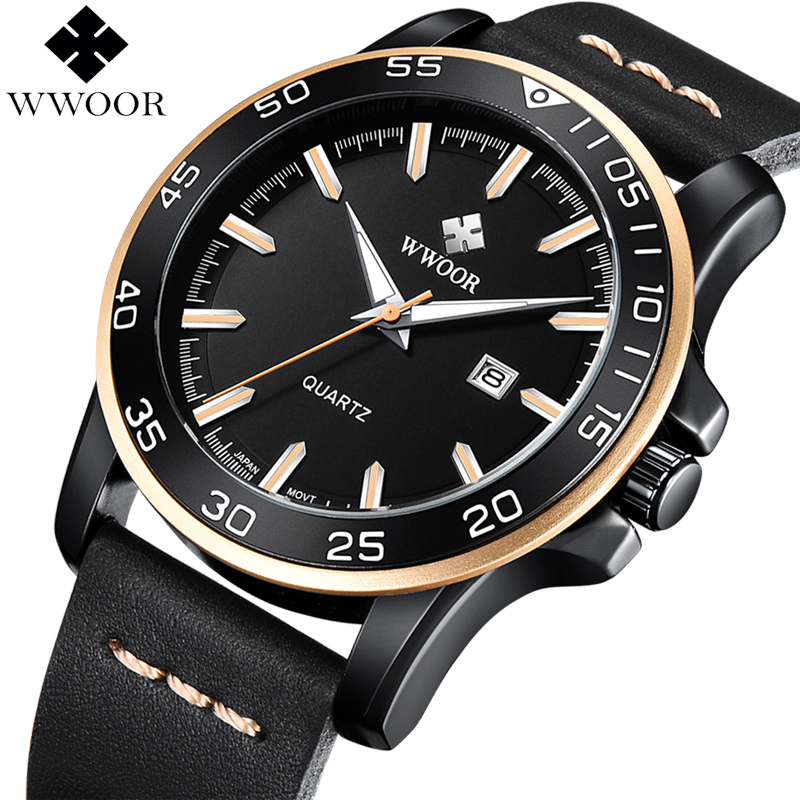 New WWOOR Watch Men Waterproof Date Quartz Clock Men Watches Top Brand Luxury Leather Strap Army Military Male Sport Wrist Watch цена