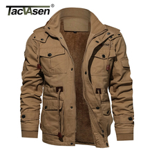 TACVASEN Military Thicken Fleece Jacket Mens Winter Casual Hooded Jacket Coat Pilot Cargo Cotton Jackets Windbreaker Parka Man