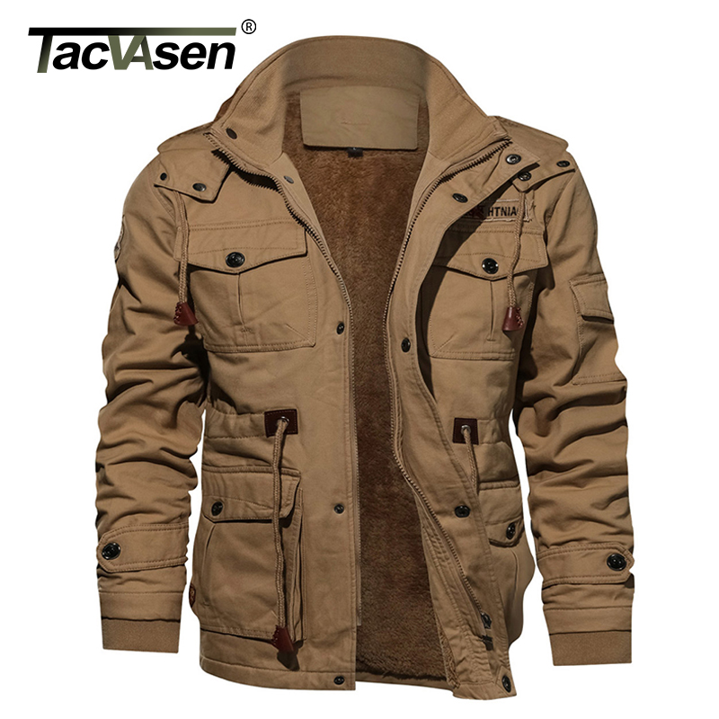 Tacvasen 밀리터리 남성 자켓 겨울 두꺼운 캐주얼 자켓 코트 플리스 파일럿 자켓 에어 포스 카고 자켓 윈드 브레이커 남성 파카-에서재킷부터 남성 의류 의  그룹 1