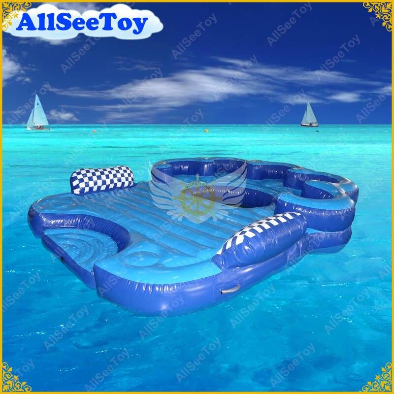 Belle île flottante gonflable d'été de 4 personnes comprend une piscine et une grande pompe à Air, peut être remorquable