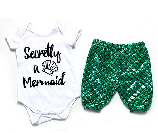 2017 Baby girl mermaid outfit newborn mermaid legging matching onesie set girls clothing set summer mermaid toddler outfit
