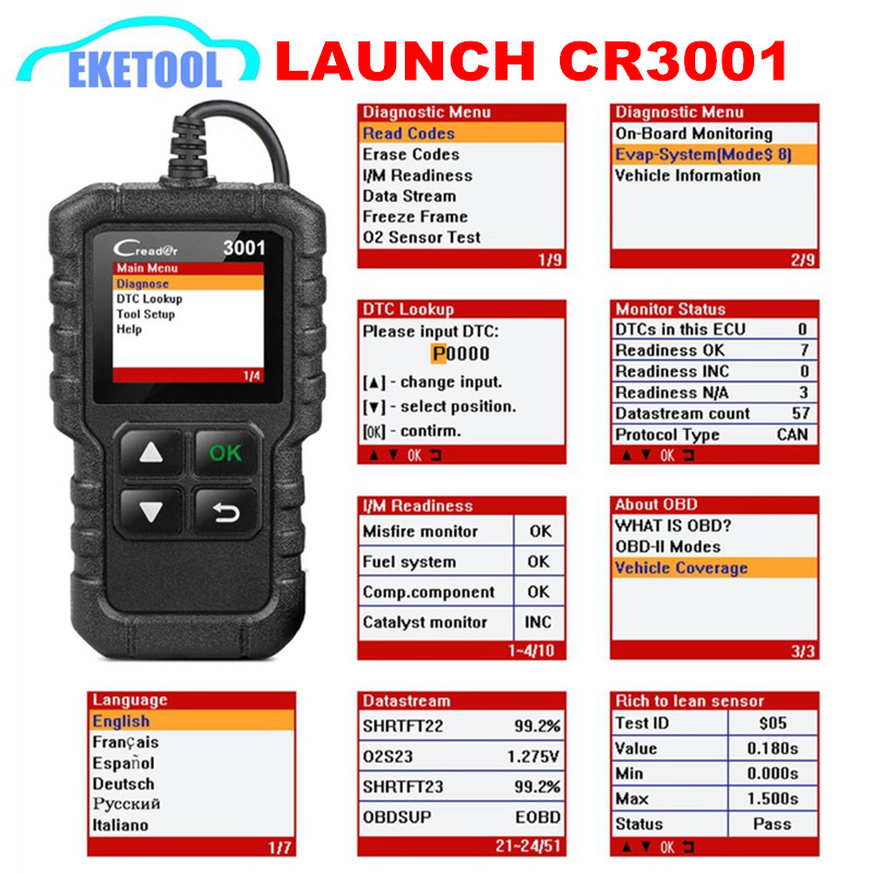 LAUNCH CREADER 3001 Code Reader Multi-Language Russian Supports OBD2/EOBD Function Launch CR3001 Full All Protocols