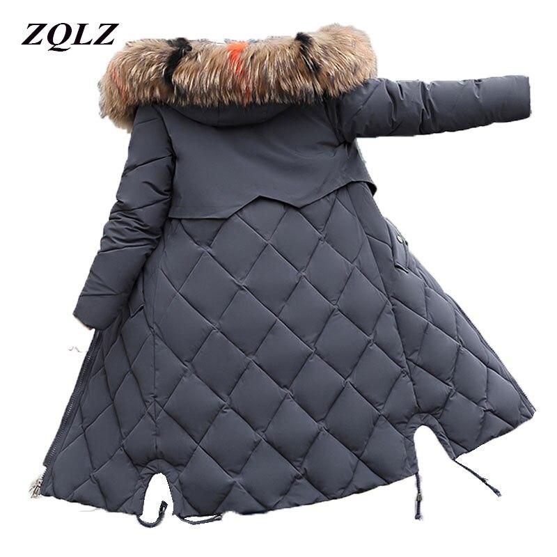 ZQLZ grueso cálido invierno de las mujeres chaqueta con capucha de piel sintética de abrigo de algodón hembra 2018 Casual más tamaño Parka larga Mujer Slim ucrania
