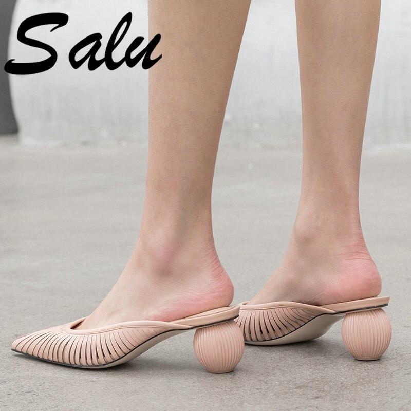 Salu Sheepskin Sandals Black Color about 6 5cm Heel Summer Shoes Women Leisure Genuine Leather High