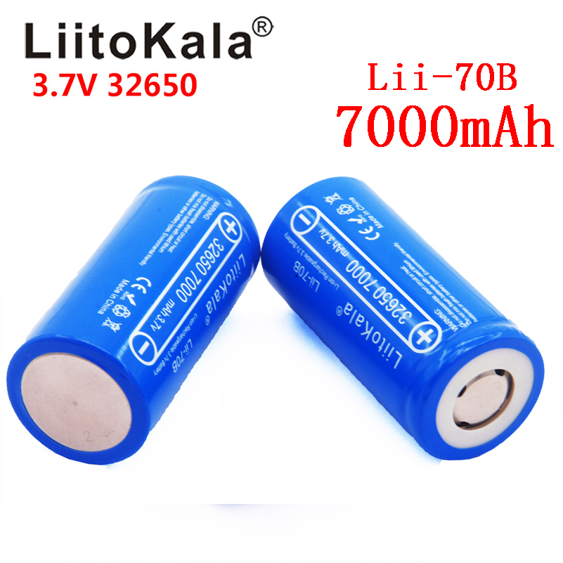 LiitoKala Lii-70B 3.7V 32650 7000mAh Li-ion Rechargeable Battery 20A Continuous Discharge Maximum 32A High power battery