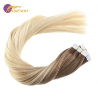 Moresoo Tape in Hair Extensions Balayage Ombre Color Brown #6 Mixed with Blonde #613 Real Remy Human Hair Extensions 50G/50Packs