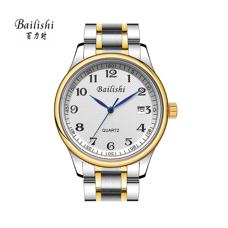 BAILISHI Silver Stainless Steel Casual Wrist Watch Mens Quartz Watch Top Brand Luxury Men Watches Day Date Hours Clock Male top brand luxury new silver watch women dress watches fashion men date leather stainless steel sport quartz wrist watch clock a1