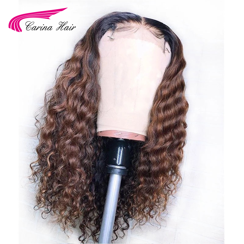 Carina Honey Blonde Lace Front Wigs Water Wave 180density 13X6 Lace Pre-plucked Glueless Remy Hair Wig With Highlight
